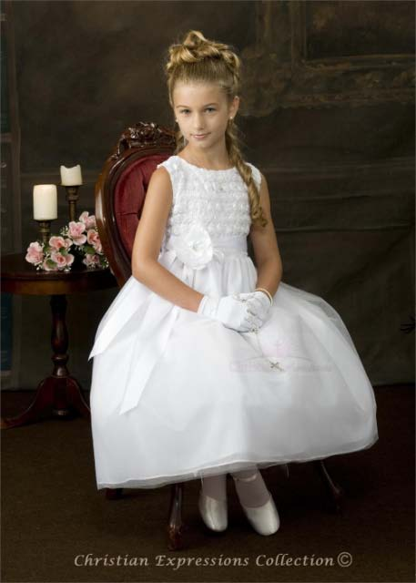 Swirl Floral Bodice First Communion Dress