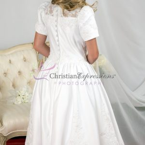 Tea Length Girls First Communion Dress with Heavy Beading size 7