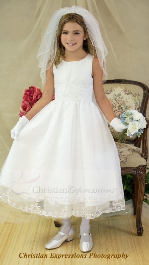 Tea Length Organza and Pearls First Communion Dresses