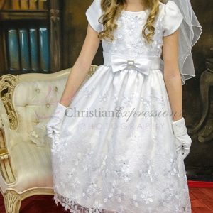 Tea Length Short Sleeves First Communion Dress with Daisies