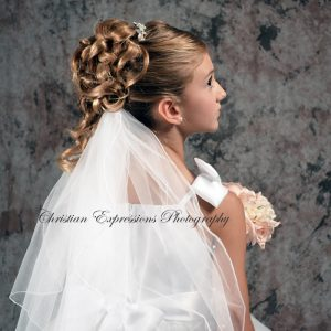 Two tier Plain White First Communion Veil