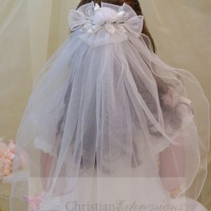 White First Communion Clip Veil Organza and Satin Bows and Rosebuds
