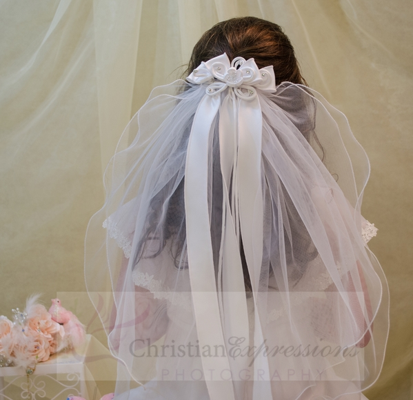 White First Communion Clip Veil with Satin Bows and Rosette