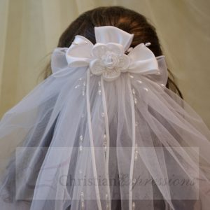 White First Communion Clip Veil with Satin and Organza Bows and Large Rosette