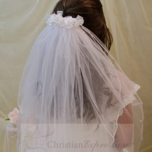 White First Communion Comb Veil with Satin and Organza Flowers and Rosebuds