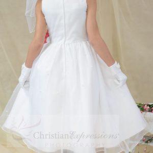 White First Communion Dress Tulip Skirt for Girls Size 6
