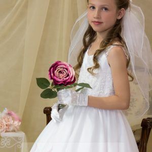 White First Communion Dress with Pearl Beading