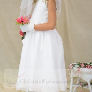 White First Communion Dress with Pearls