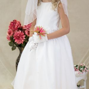 White First Communion Dress with Tulip Skirt