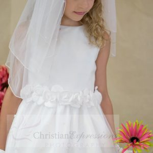 White First Communion Dress with Tulip Skirt Size 7