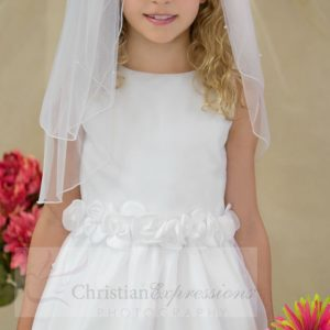 White First Communion Dress with Tulip Skirt Size 8