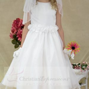 White First Communion Dress with Tulip Skirt with Pearls