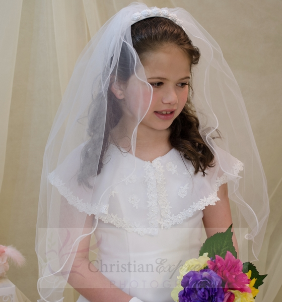 White First Communion Headband Veil Pearl Rosettes