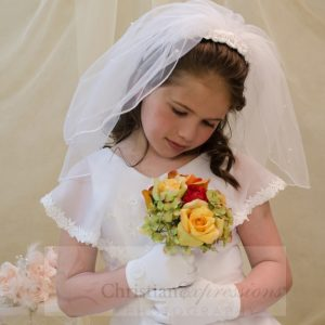 White First Communion Headband Veil with Fabric Flowers and Pearl Clusters