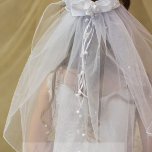 White First Communion Wreath Veil with Satin Rosettes