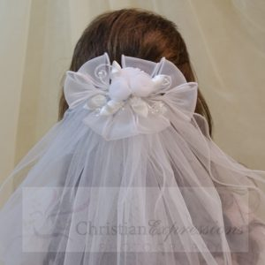 White First Holy Communion Clip Veil Organza and Satin Bows and Rosebuds