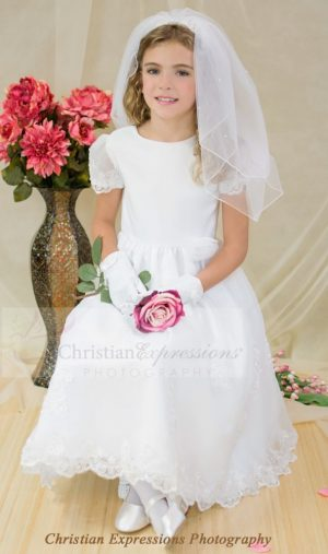 White Satin and Organza first holy communion dress with sheer sleeves beaded appliques
