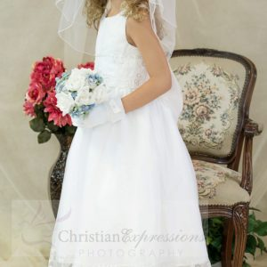 White communion dresses with embroidery and pearls