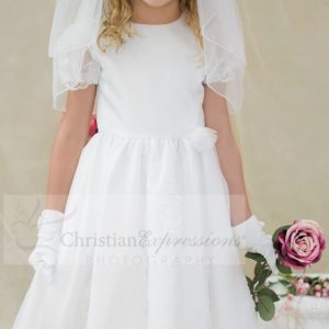 White satin organza overlay first communion dress with sheer sleeves with appliques