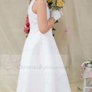 a-line satin and pearls first communion dress