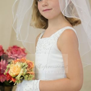 a-line satin and pearls first communion dresses Square Neck