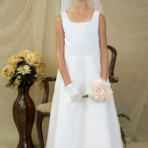 a-line satin long length communion dresses with pearls
