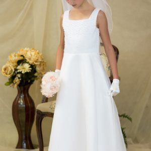 a-line satin long length first communion dresses with pearls