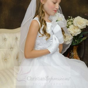 :ace with Crystals White First Communion Dress