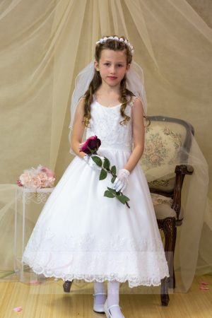 ballerina style first communion dress with beading