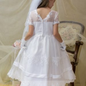 banded lace first communion dress