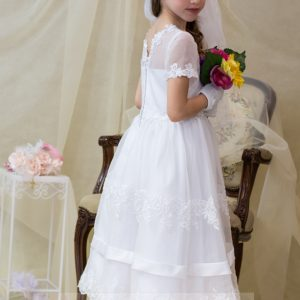 banded lace girls first communion dress