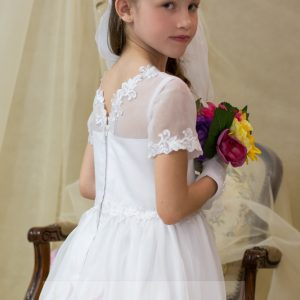 banded lace modern first communion dress