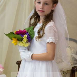 banded lace modern first communion dress tea length