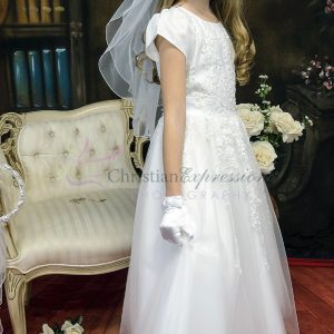 beaded first communion dresses with sleeves