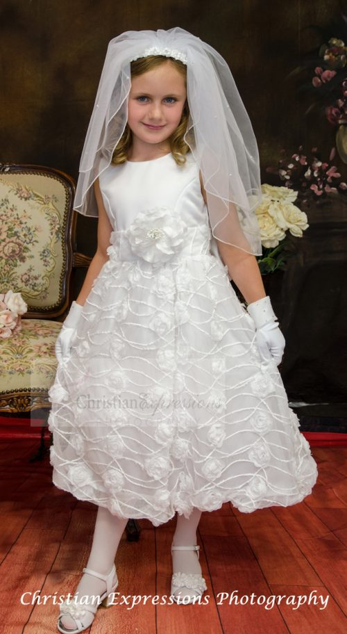 chiffon first communion dress