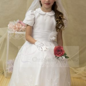 embroidered organza first communion dress peter pan collar