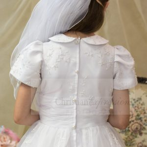 embroidered organza first communion dresses peter pan collar