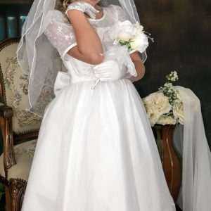 embroidered organza white short sleeves communion dresses with satin bow