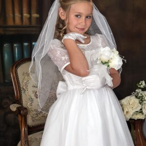 embroidered organza white short sleeves communion dresses with satin bow for girls