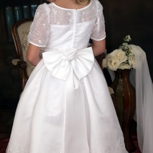 embroidered organza white short sleeves first communion dresses