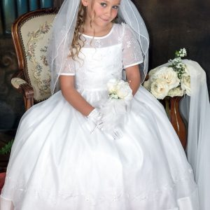 embroidered organza with pearls first communion dress