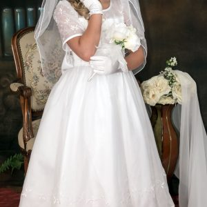embroidered organza with pearls modern first communion dresses