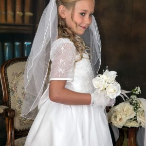 embroidered organza with pearls modern girls first communion dresses