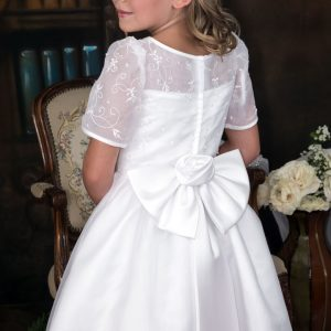 embroidered organza with pearls short sleeves first communion dresses