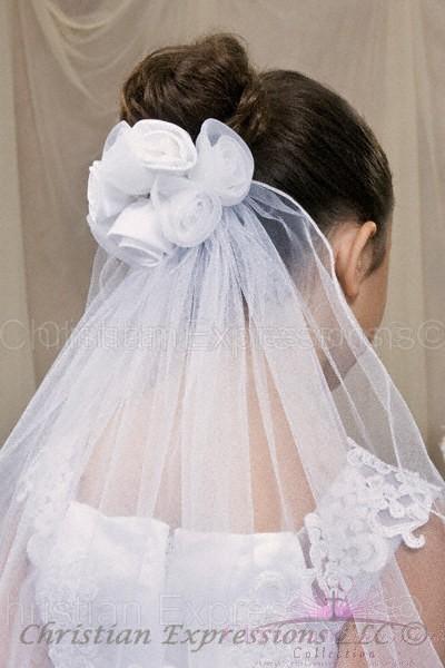 first communion rosebud veil