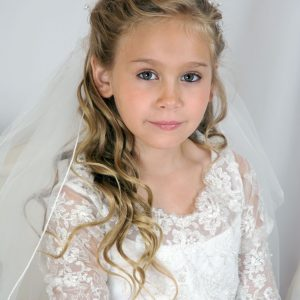 first communion crown veil with flowers