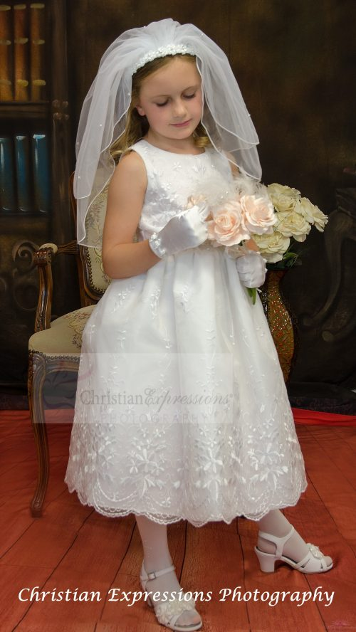 embroidered first communion dress