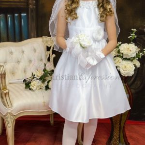 satin with pearl neckline first communion dress