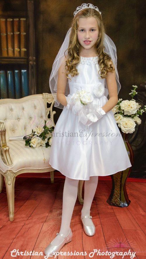 satin with pearl neckline first communion dress