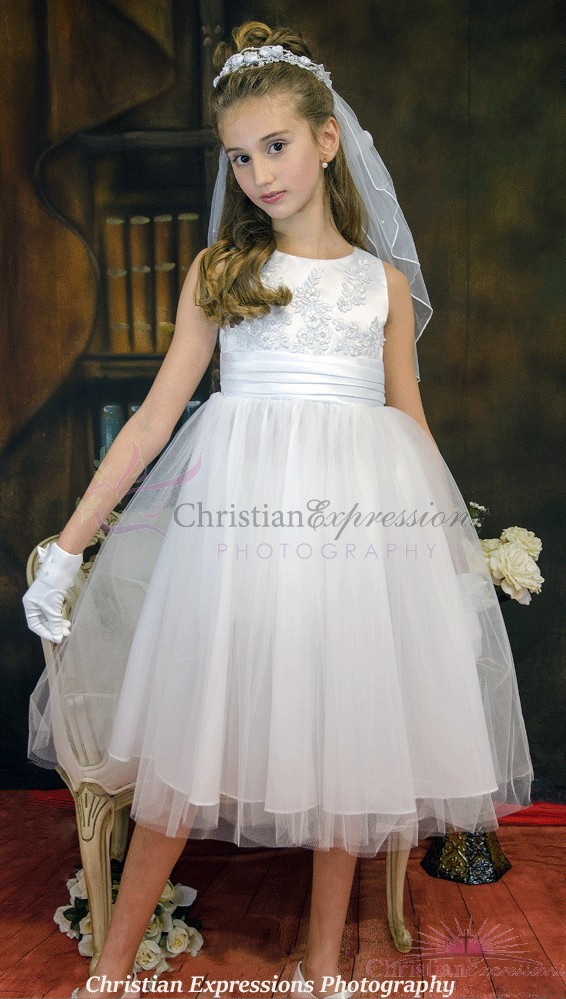 satn and lace first communion dress